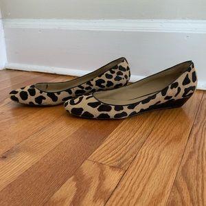 Leopard Print Wedge Flats, Size 8.